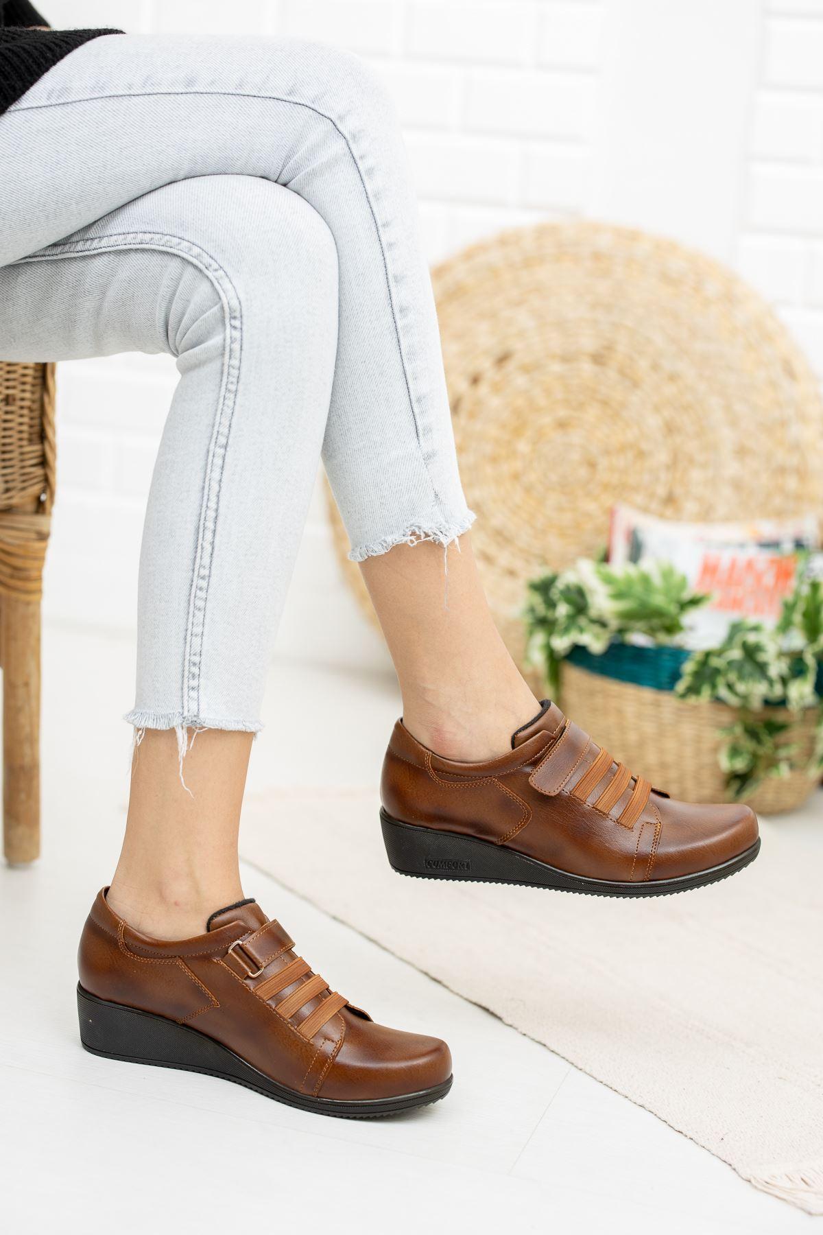 Cırtlı 3 Lastikli Ortapedik Pedli Taba Cilt Ayakkabı