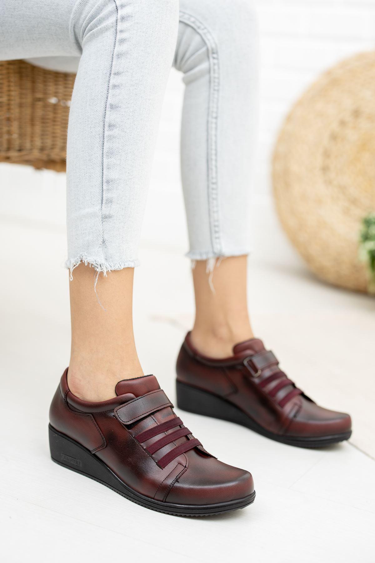 Cırtlı 3 Lastikli Ortapedik Pedli Bordo Cilt Ayakkabı