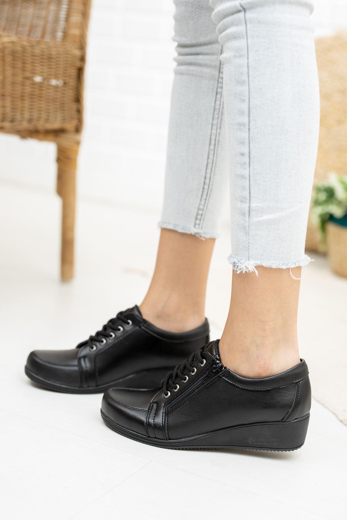 Fermuarlı Bağcıklı Ortapedik Pedli Siyah Cilt Ayakkabı