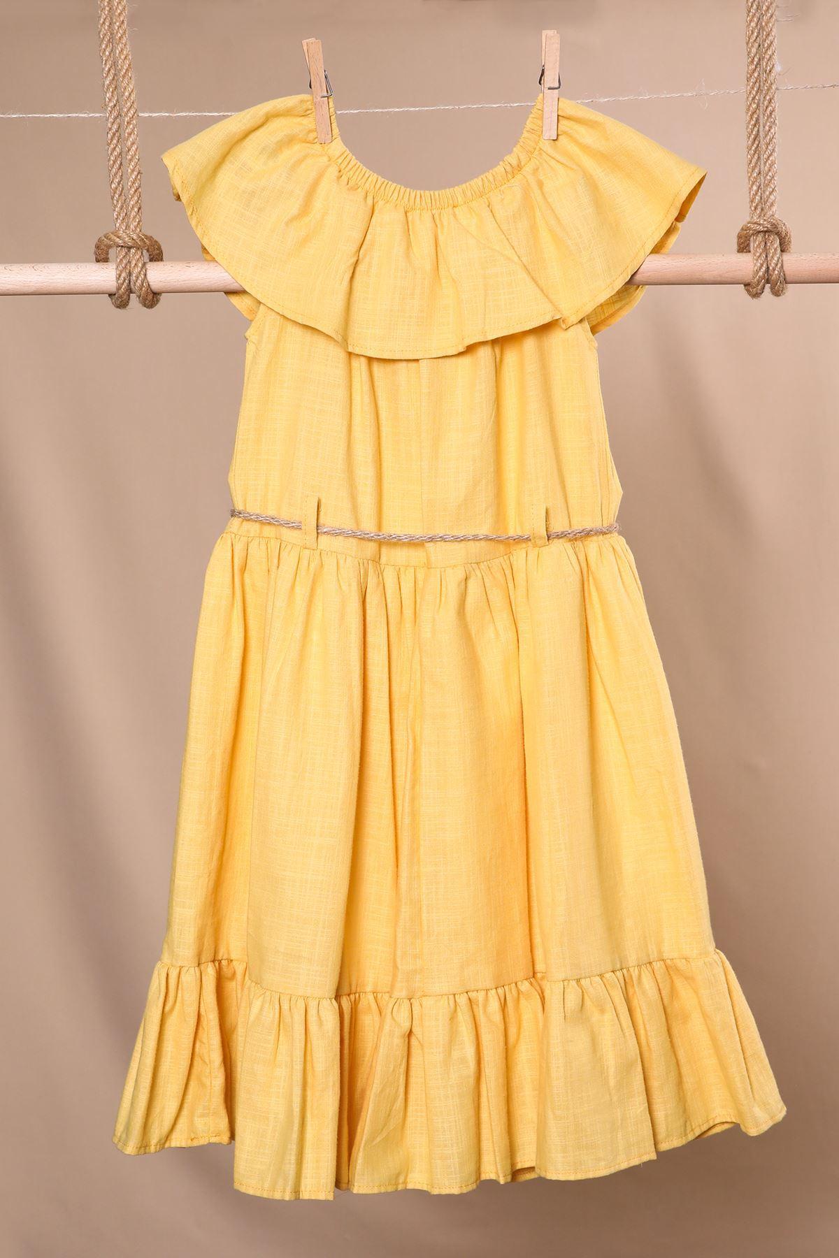 Çiçek Desenli Hasır Kemerli Elbise
