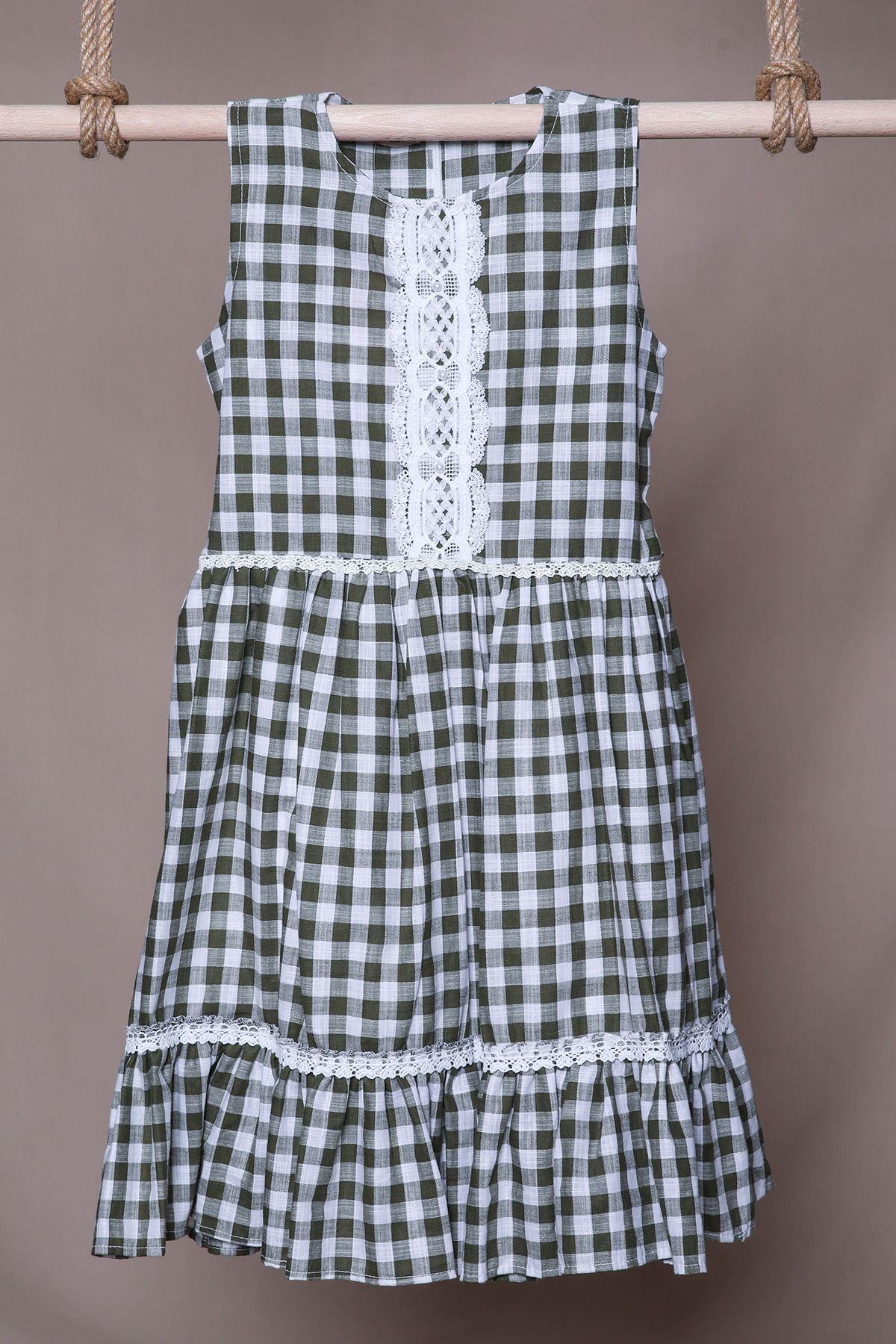 Ekose Desenli Çocuk Elbise
