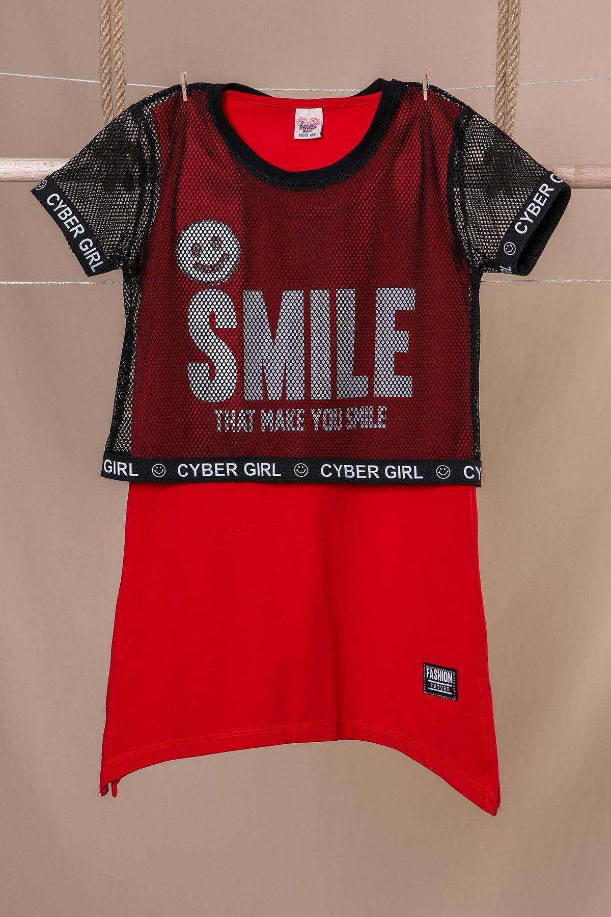 Fileli Baskılı Kız Çocuk Elbise