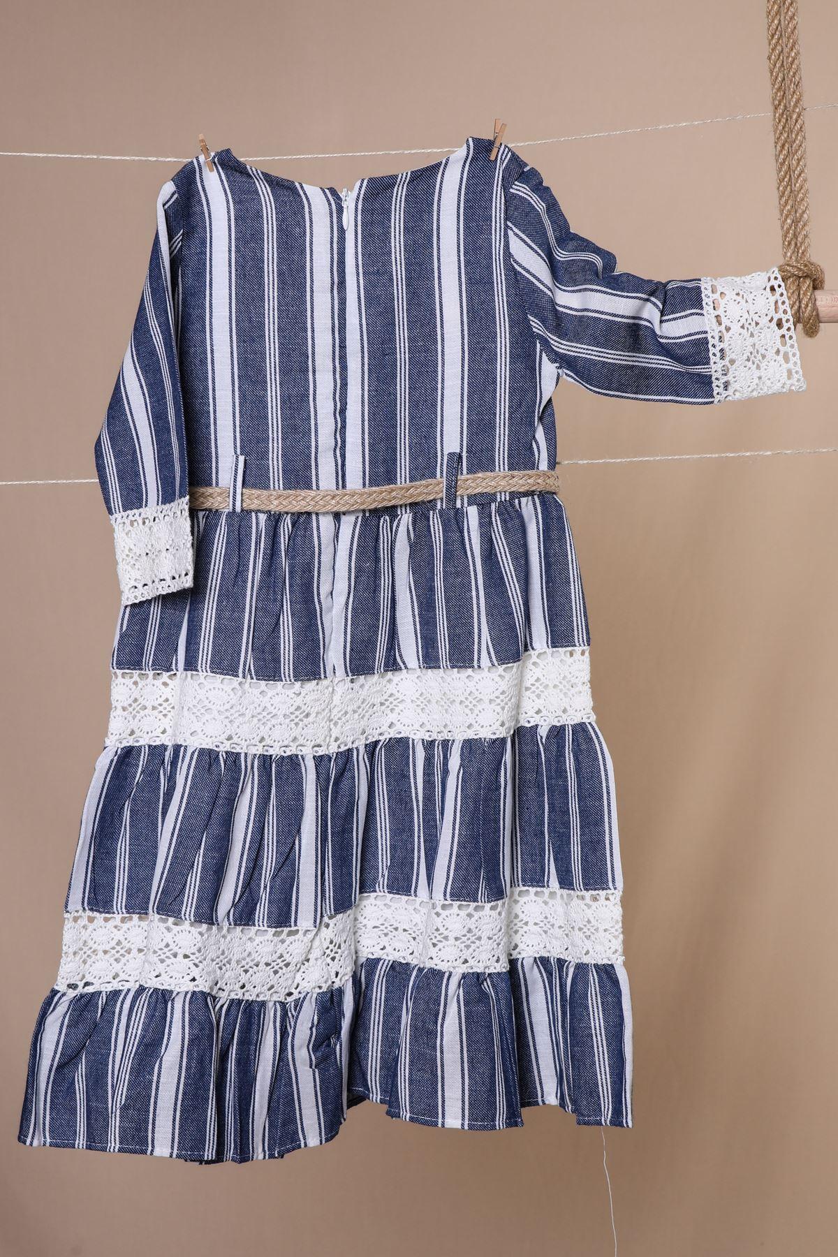 Hasır Kemerli Dantelli Elbise