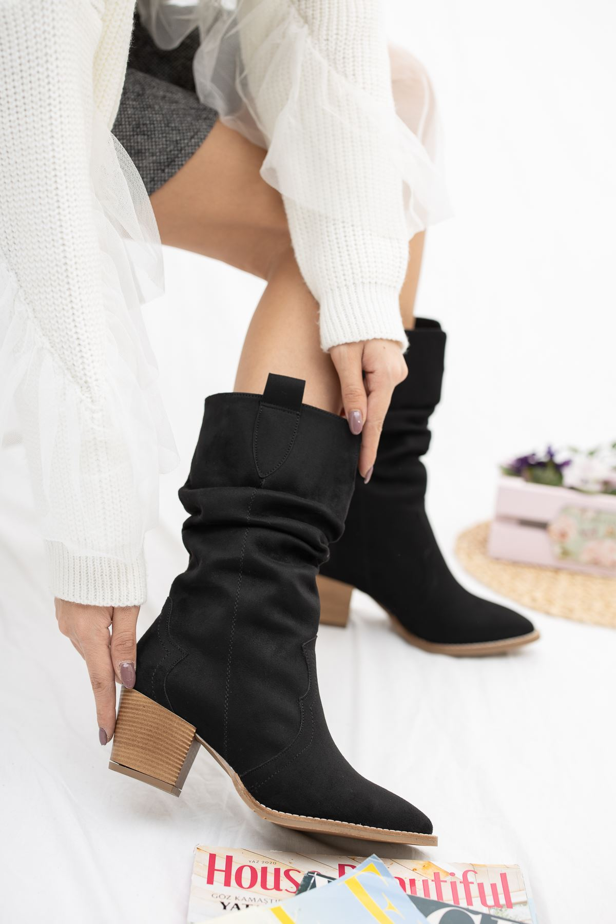 Siyah Süet Kovboy Çizme