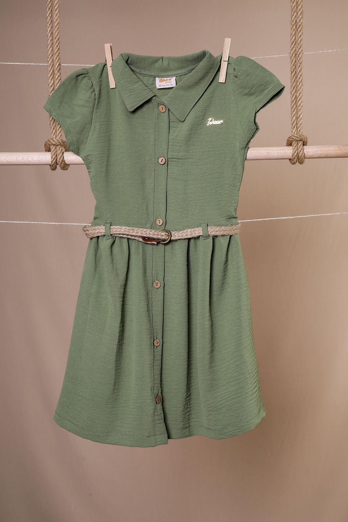 Hasır Kemerli Kız Çocuk Elbise
