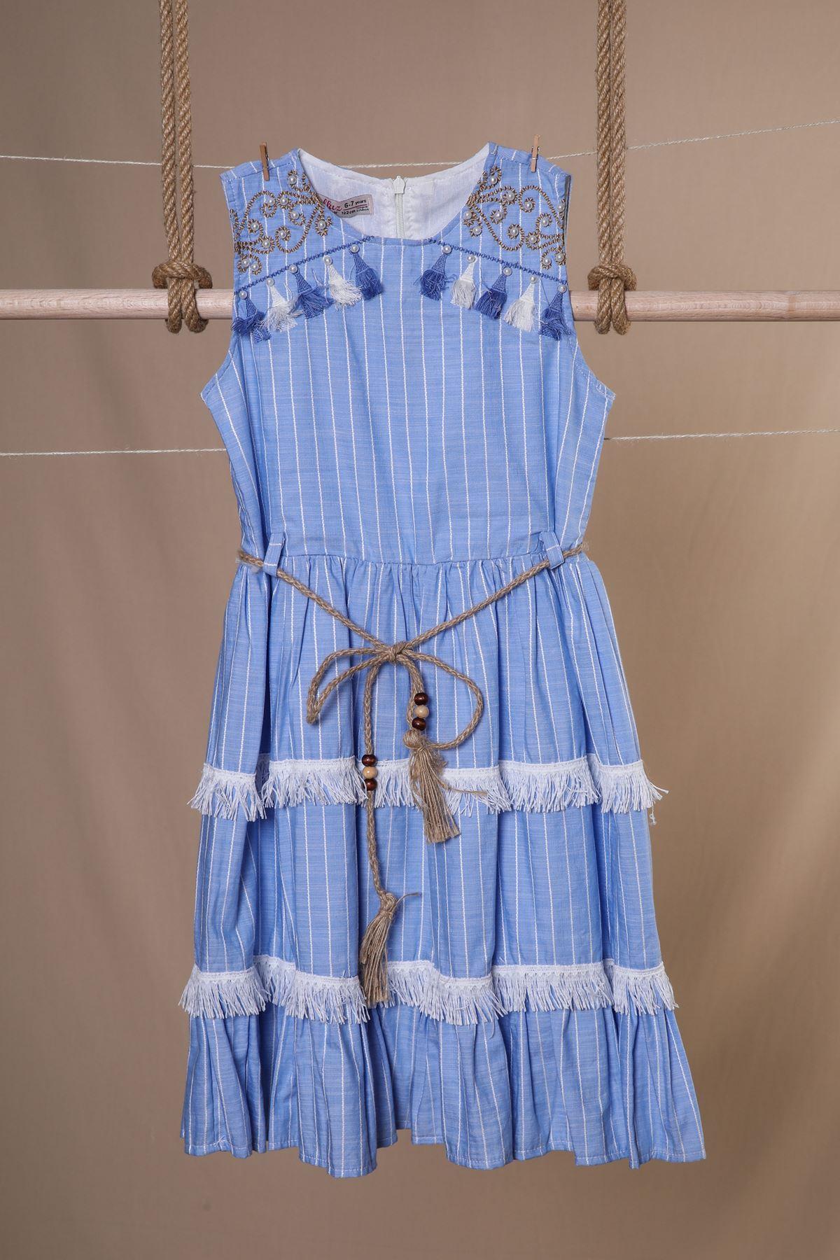 İncili Hasır Kemerli Elbise