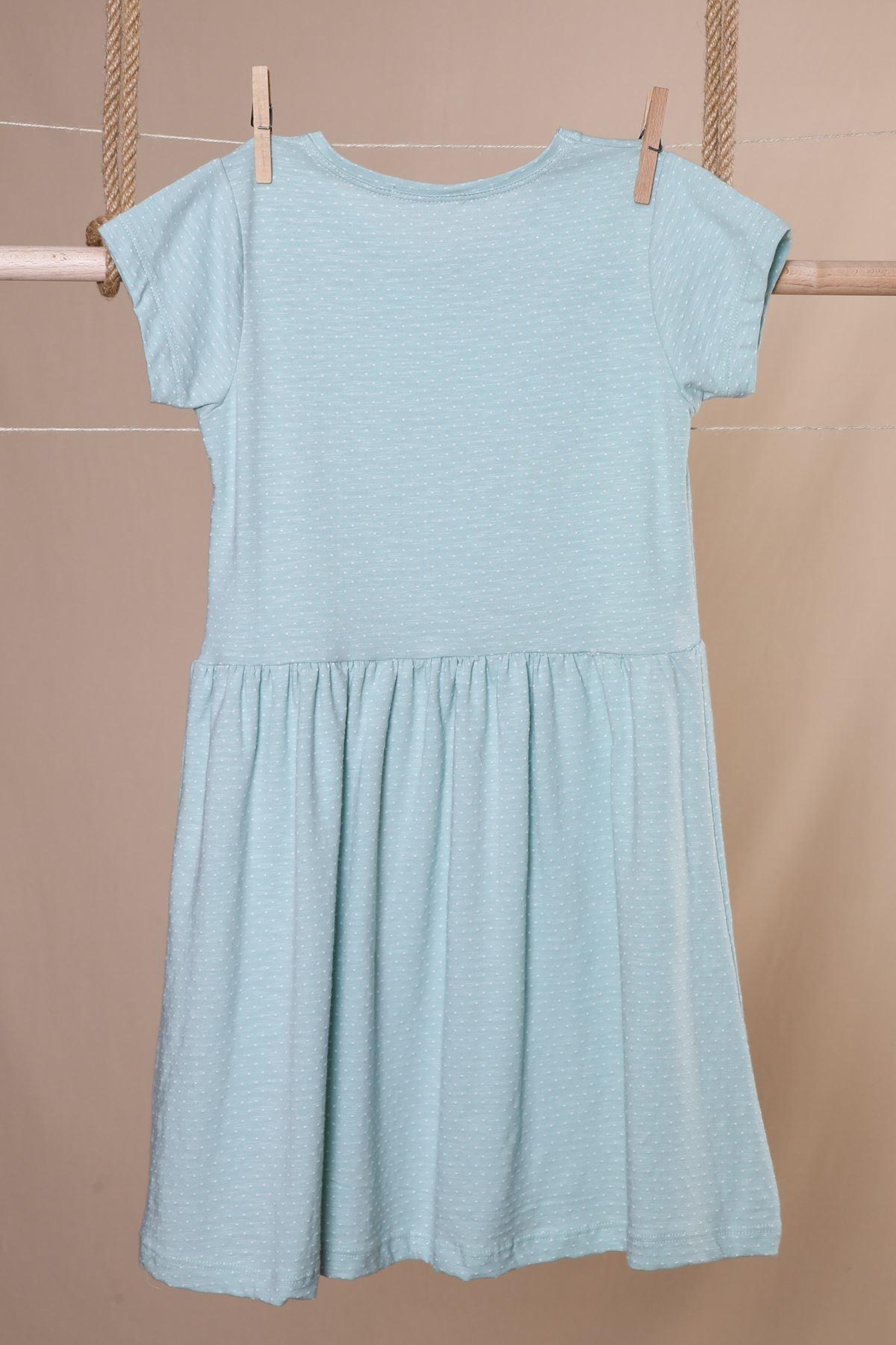 Smile Payetli Penye Kız Çocuk Elbise