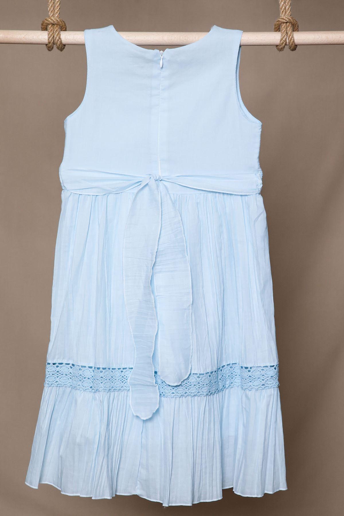 Nakış İşlemeli Mavi Çocuk Elbise