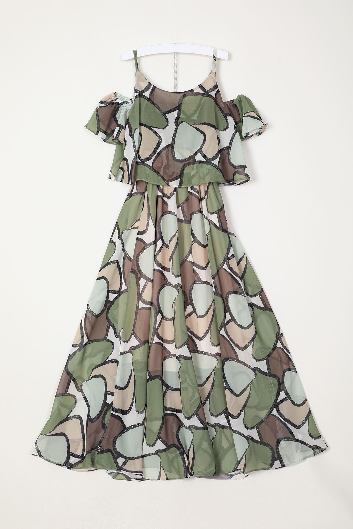 Omuz Pencereli Şifon Elbise