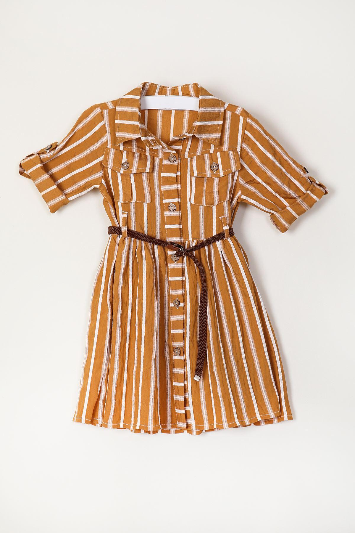Kemerli Kız Çocuk Elbise