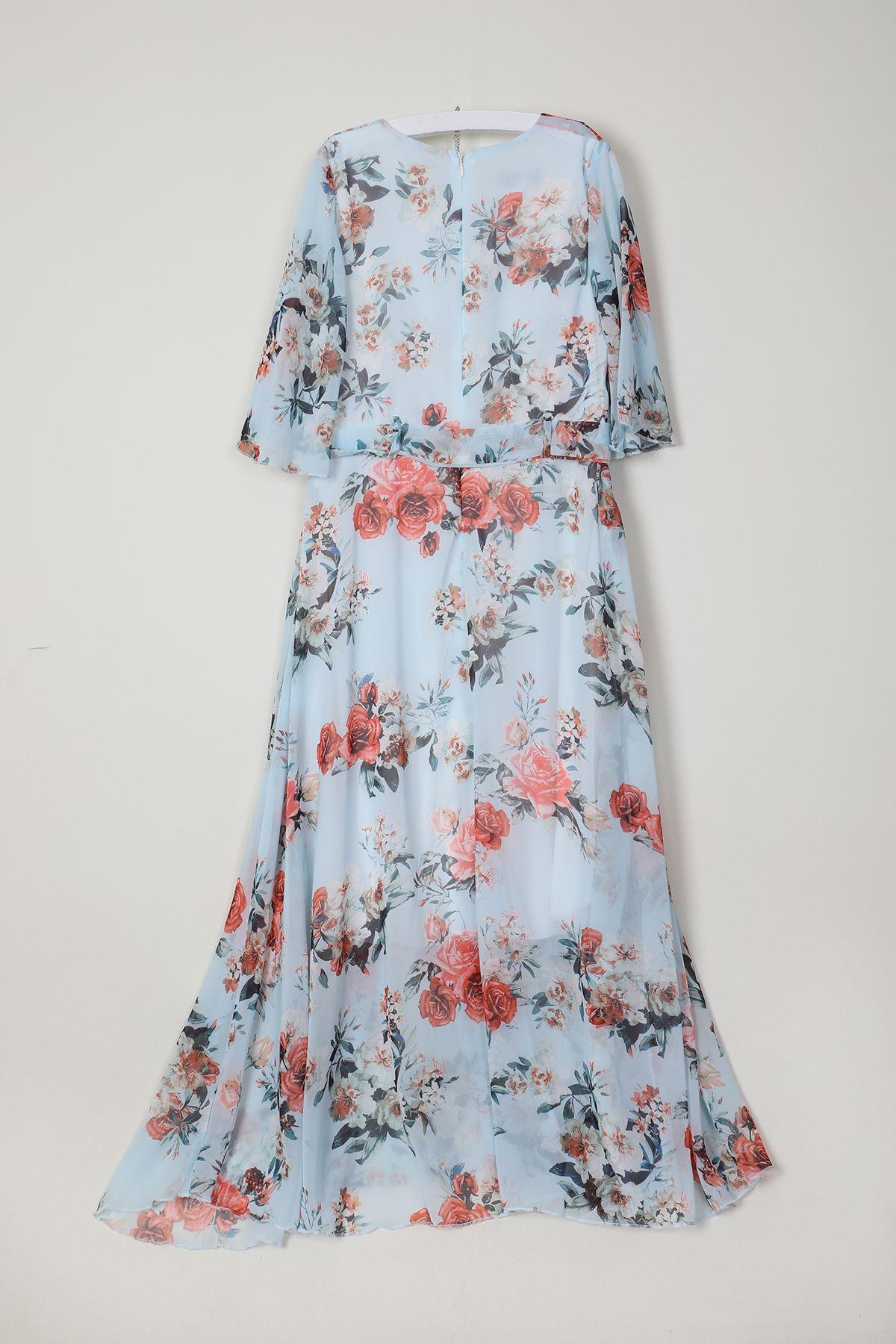 Gül Desenli Elbise