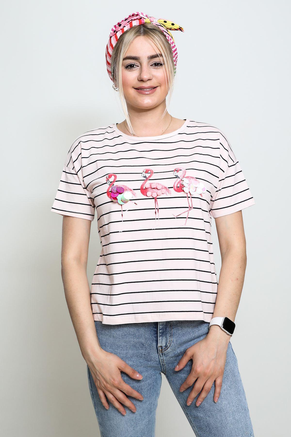 Arkası Fileli Flamingo Desenli T-shirt