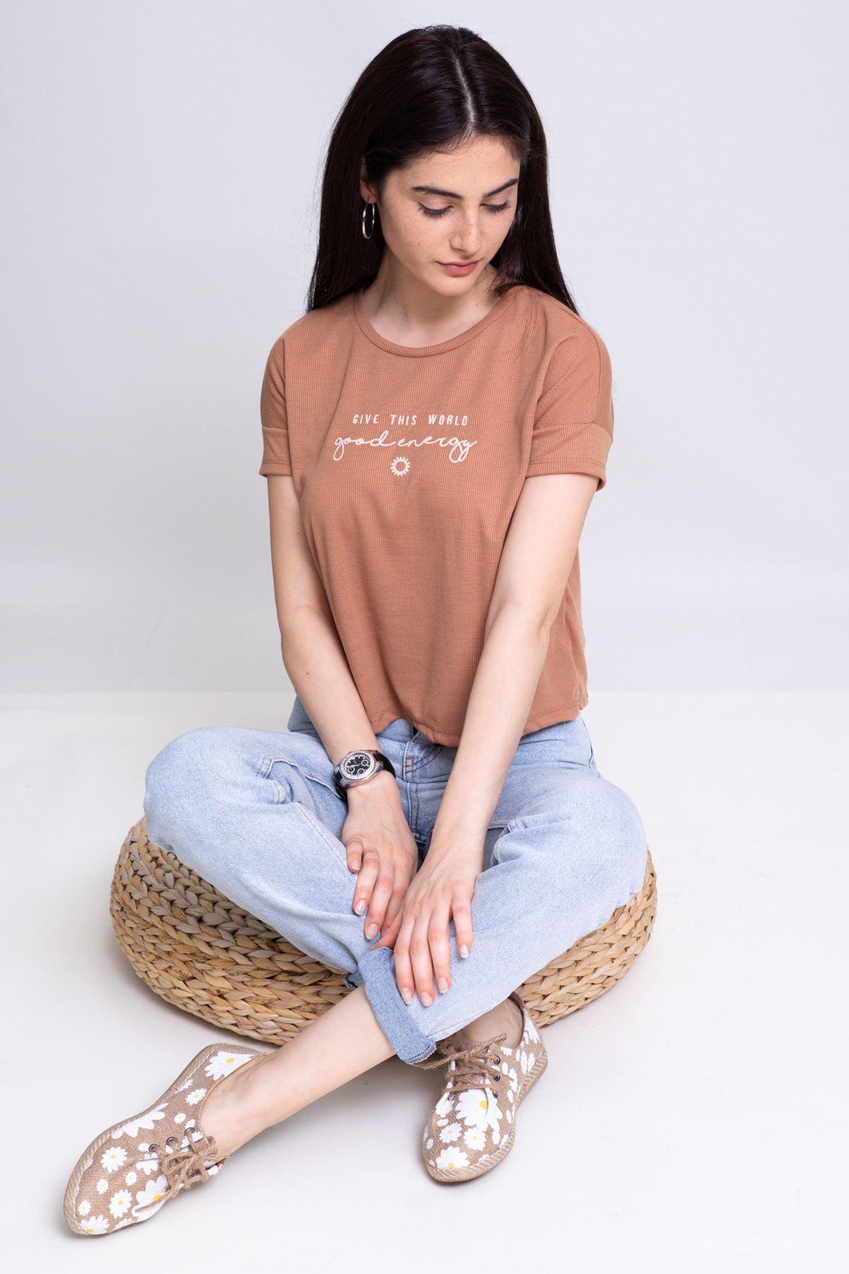 Yazı Nakışlı Salaş T-shirt