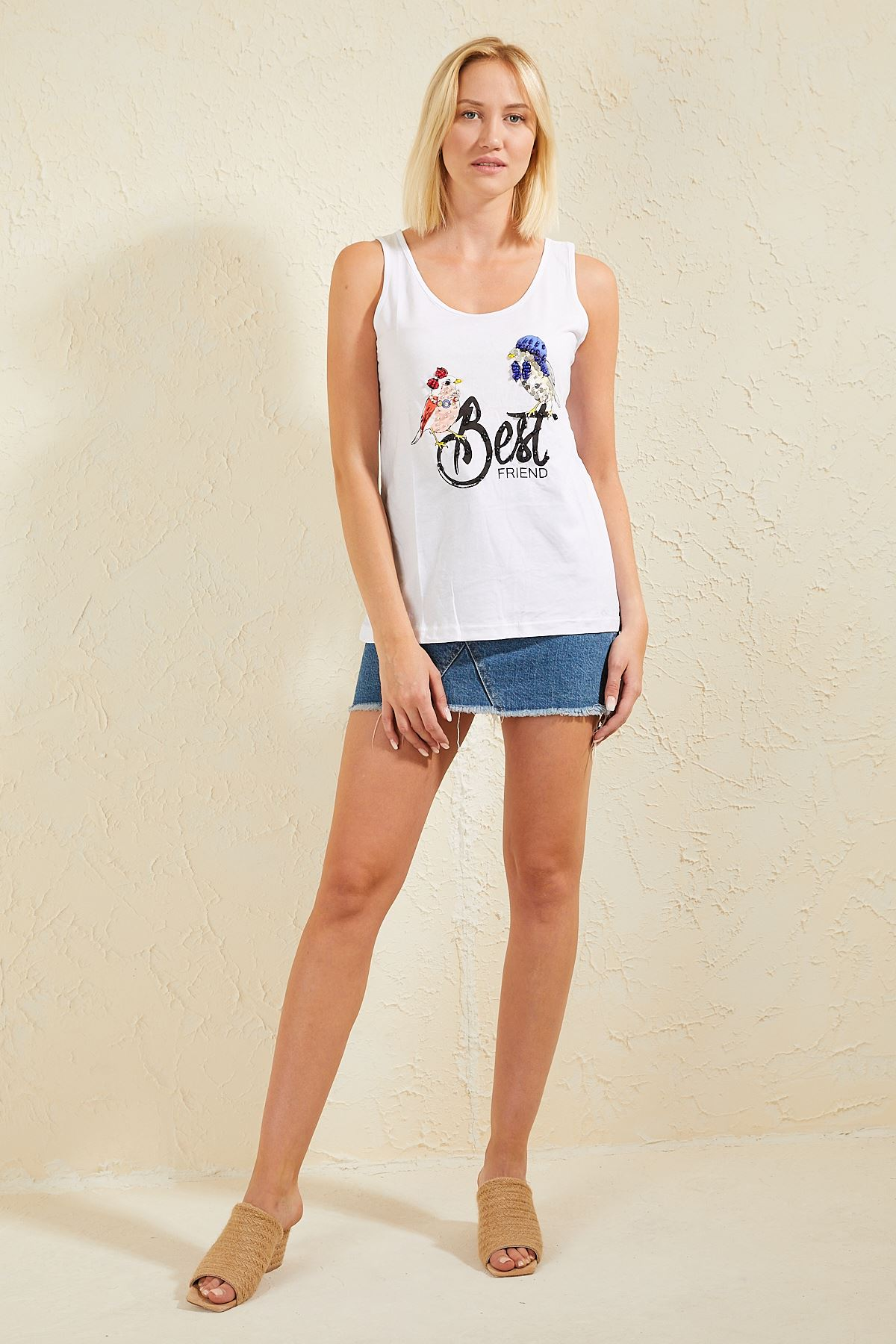 Kuşlu Askılı T-shirt