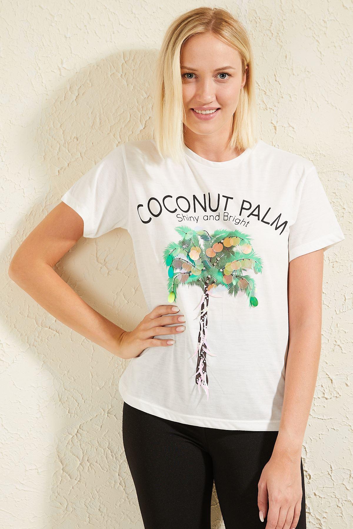 Coconut Baskılı Pullu Kadın T-shirt
