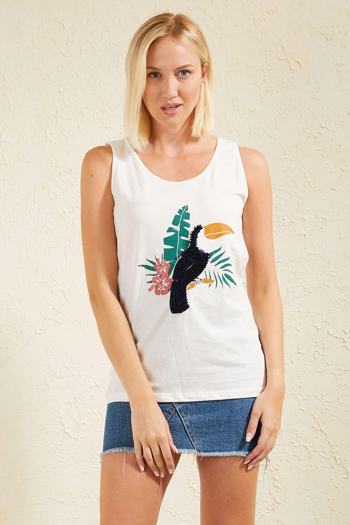 Papağan Baskılı Askılı Kadın T-shirt