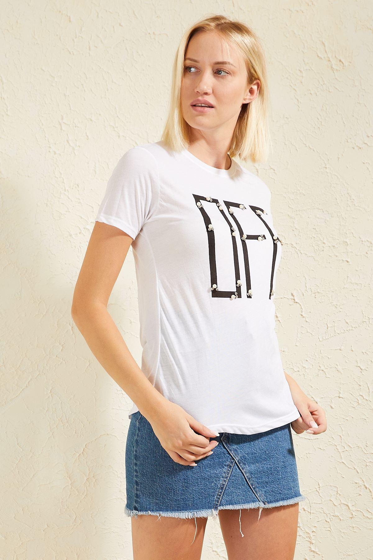 Taşlı Kadın T-shirt