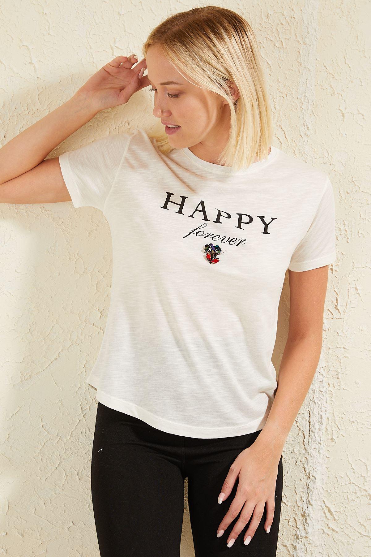 Baskılı Taşlı Kadın T-shirt