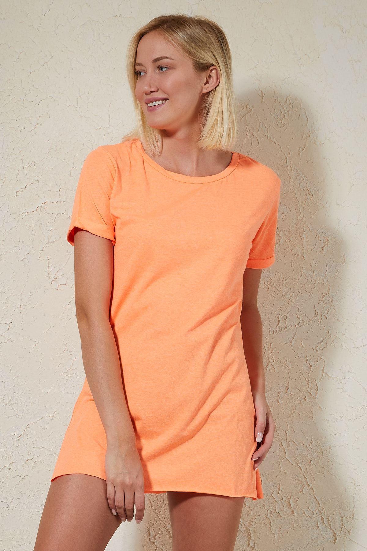Yandan Yırtmaçlı Turuncu Kadın T-shirt
