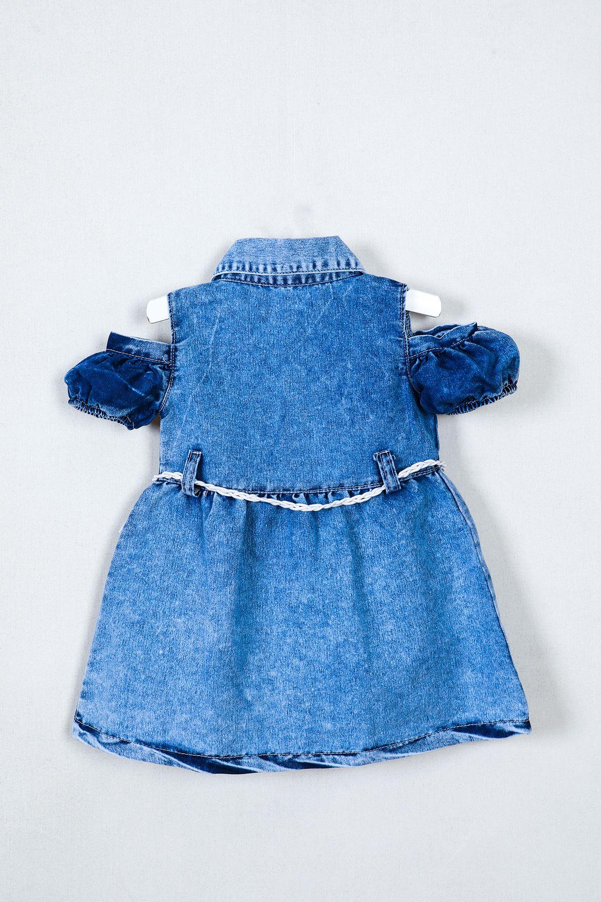 Papatya Taşlı Bebe Kot Elbise