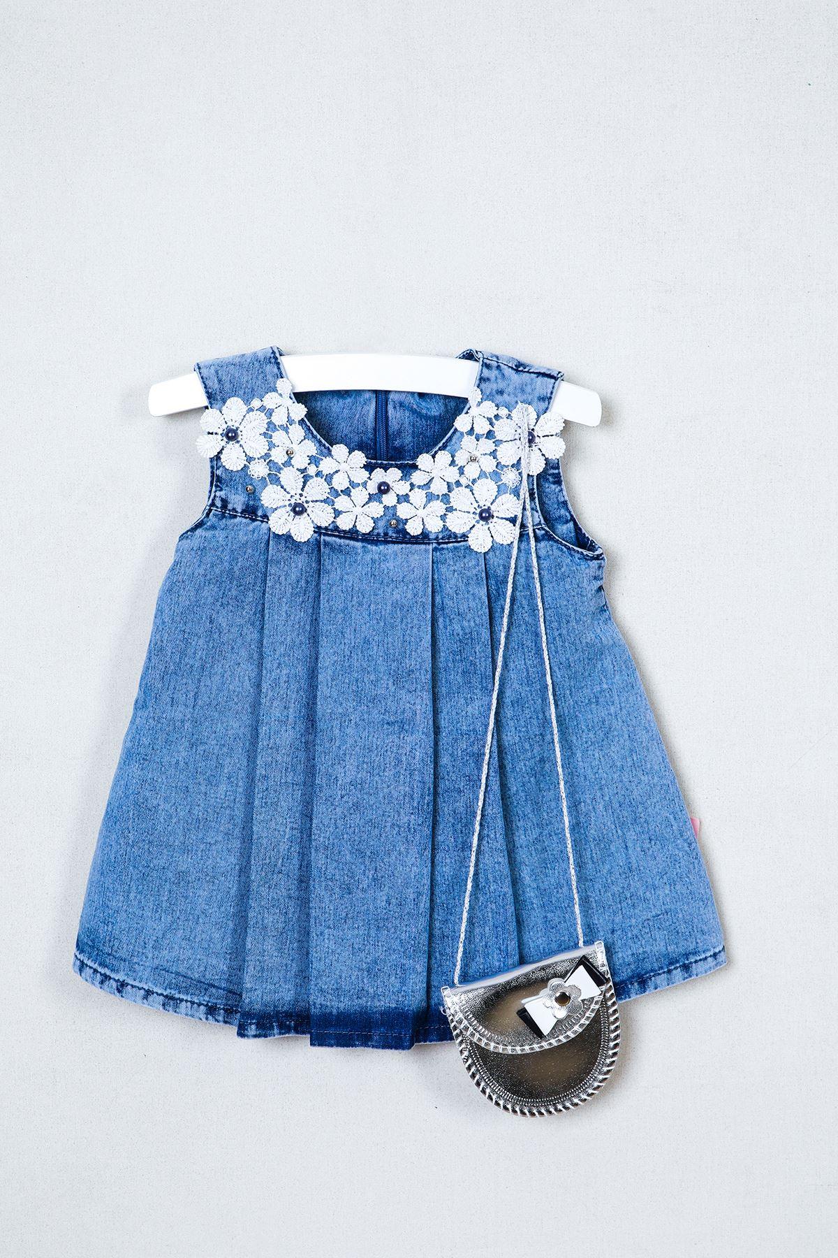 Papatya Nakışlı Çantalı Bebe Kot Elbise