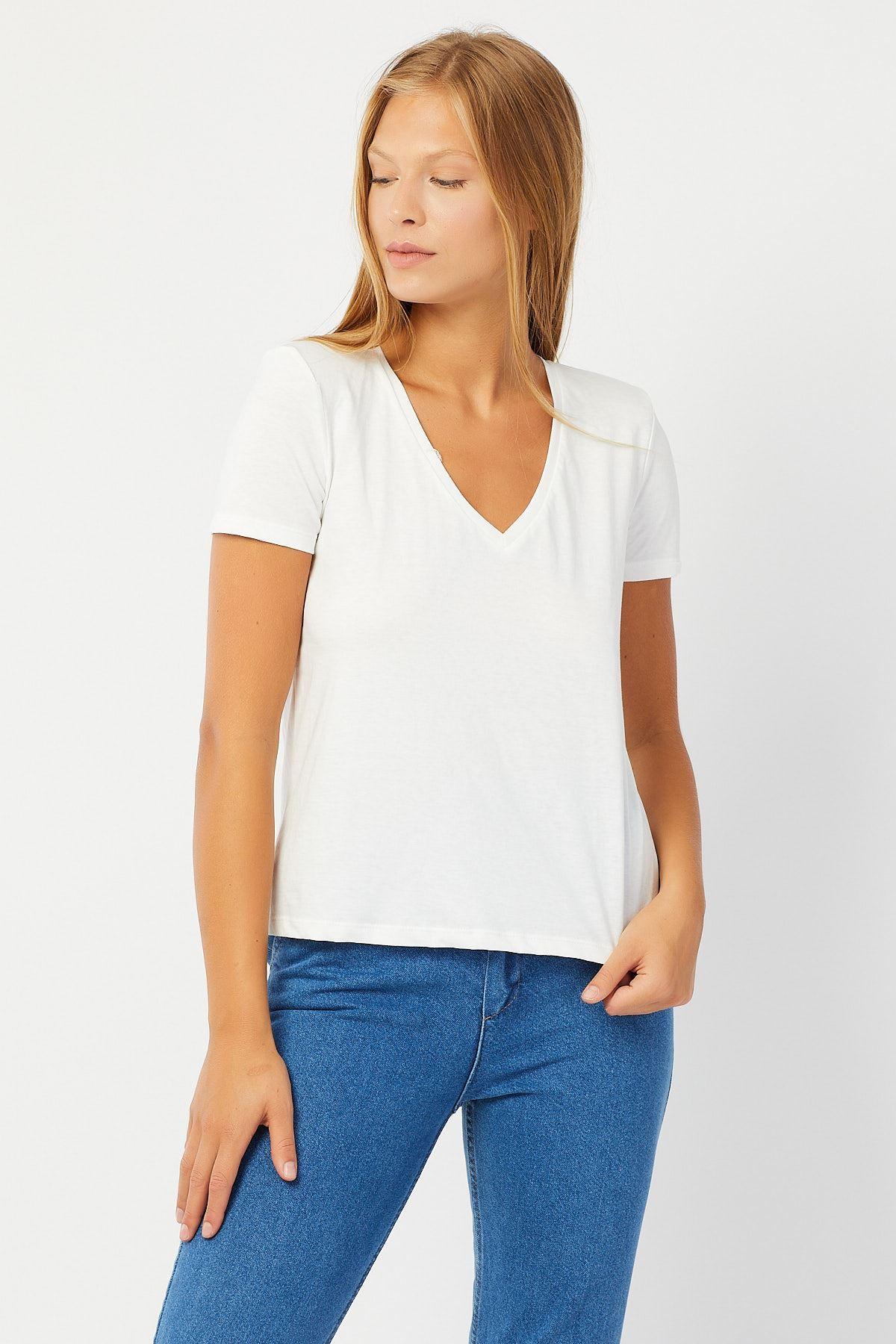 V Yaka Penye T-shirt