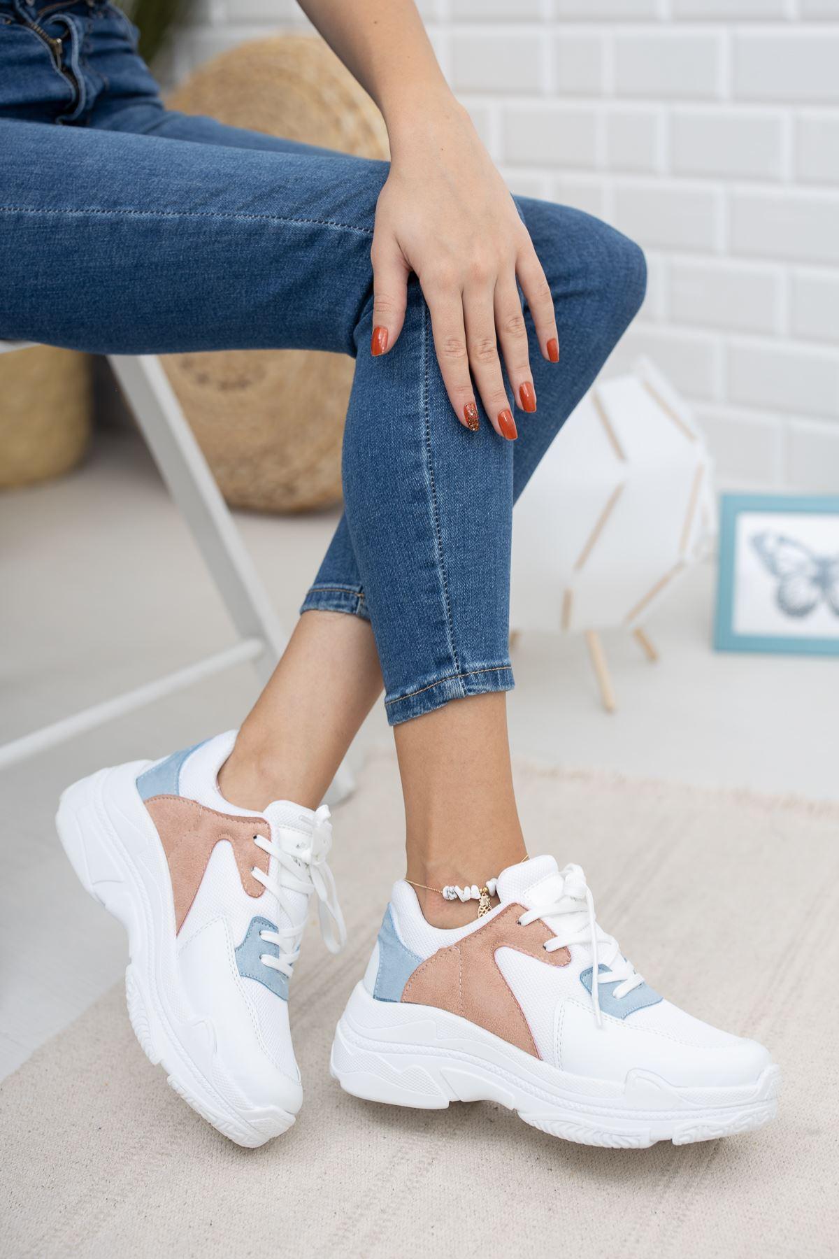 Loic Mavi Pudra Garnili Beyaz Spor Ayakkabı