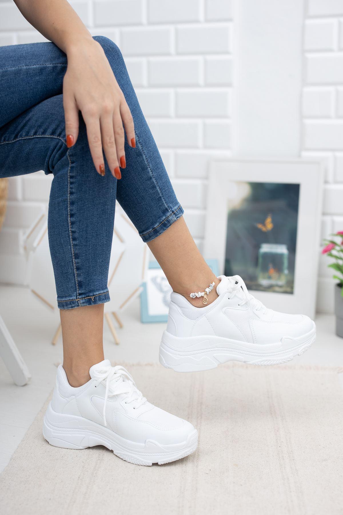Loic Beyaz Fileli Spor Ayakkabı