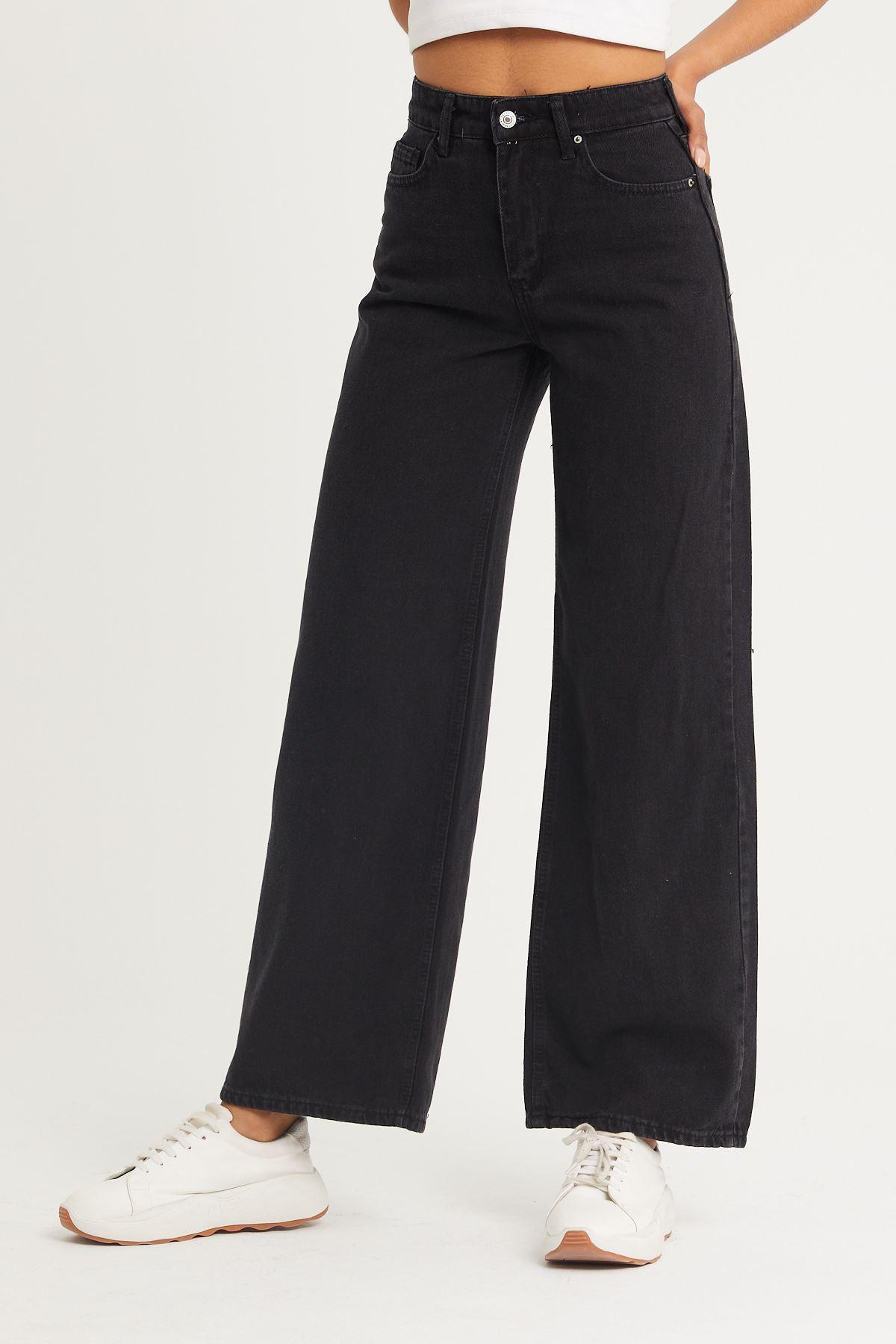 Yüksek Bel Geniş Paça Kot Pantolon