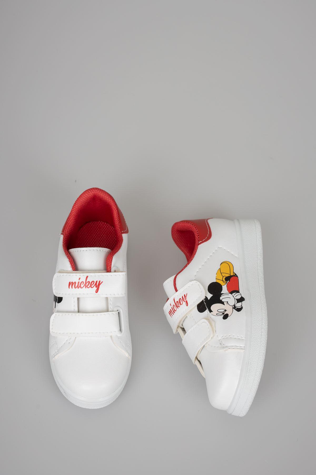 Baskılı Beyaz Garnisi Kırmızı Çocuk Ayakkabı