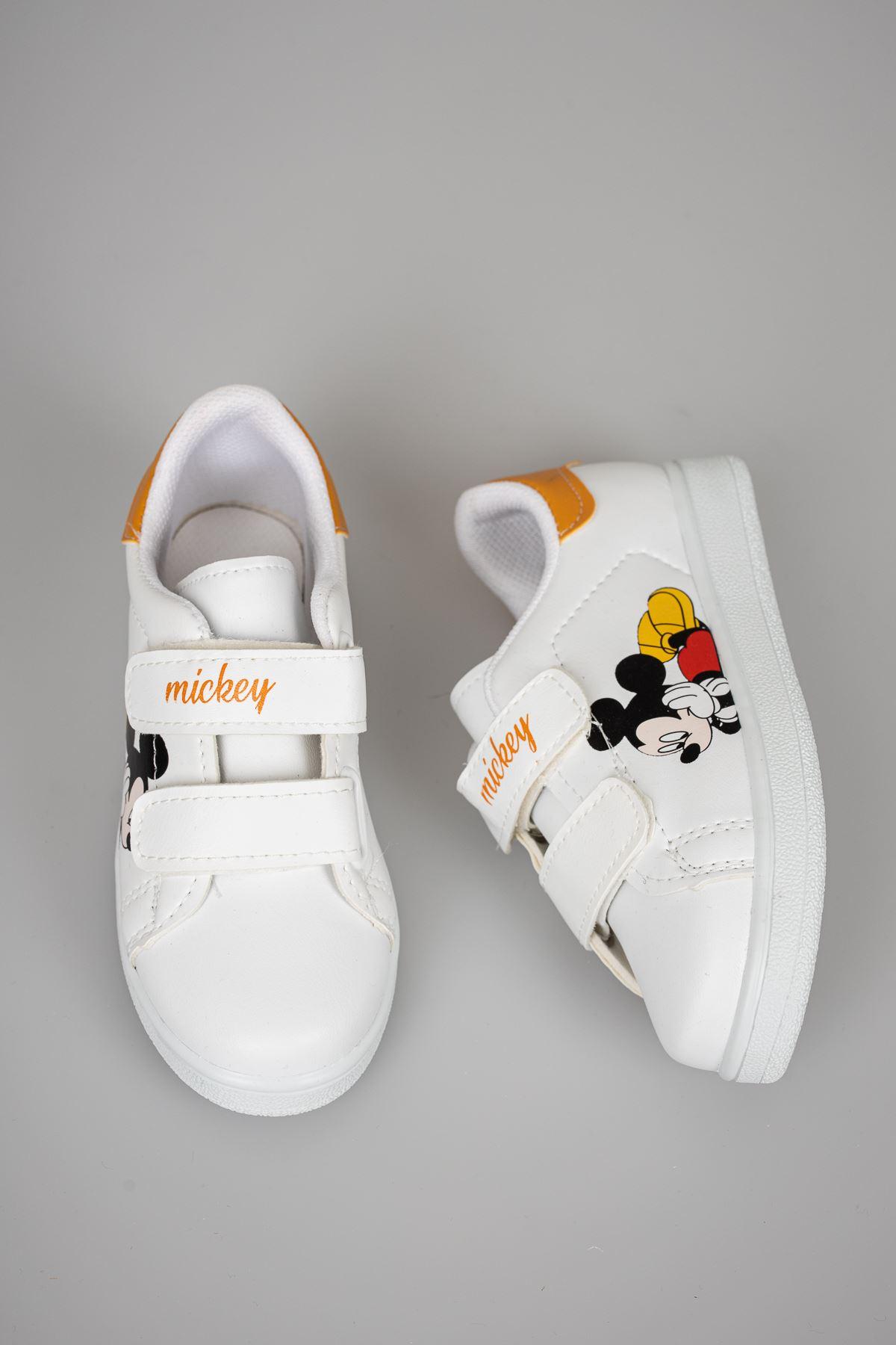 Baskılı Beyaz Garnisi Sarı Çocuk Ayakkabı