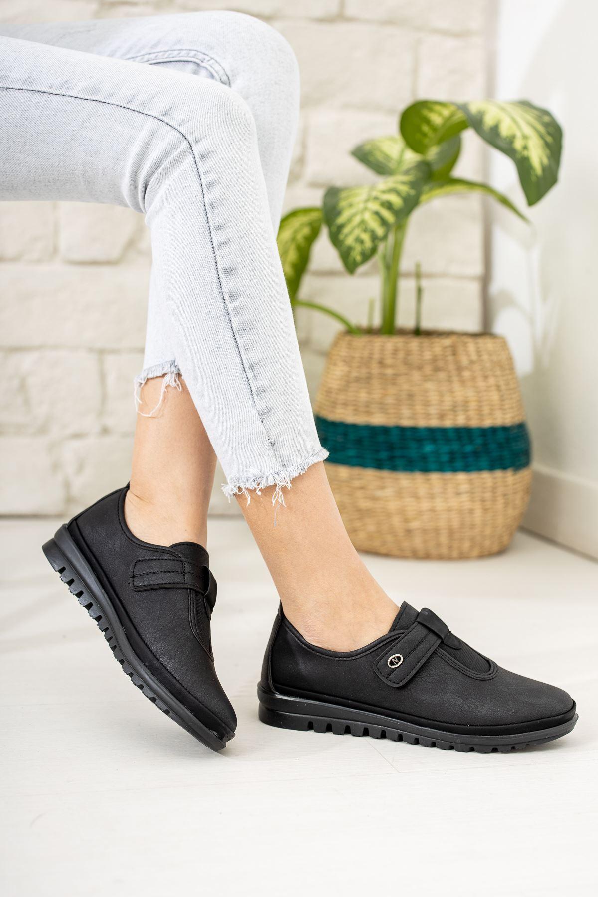 Ortapedik Pedli Cırtlı Siyah Cilt Ayakkabı