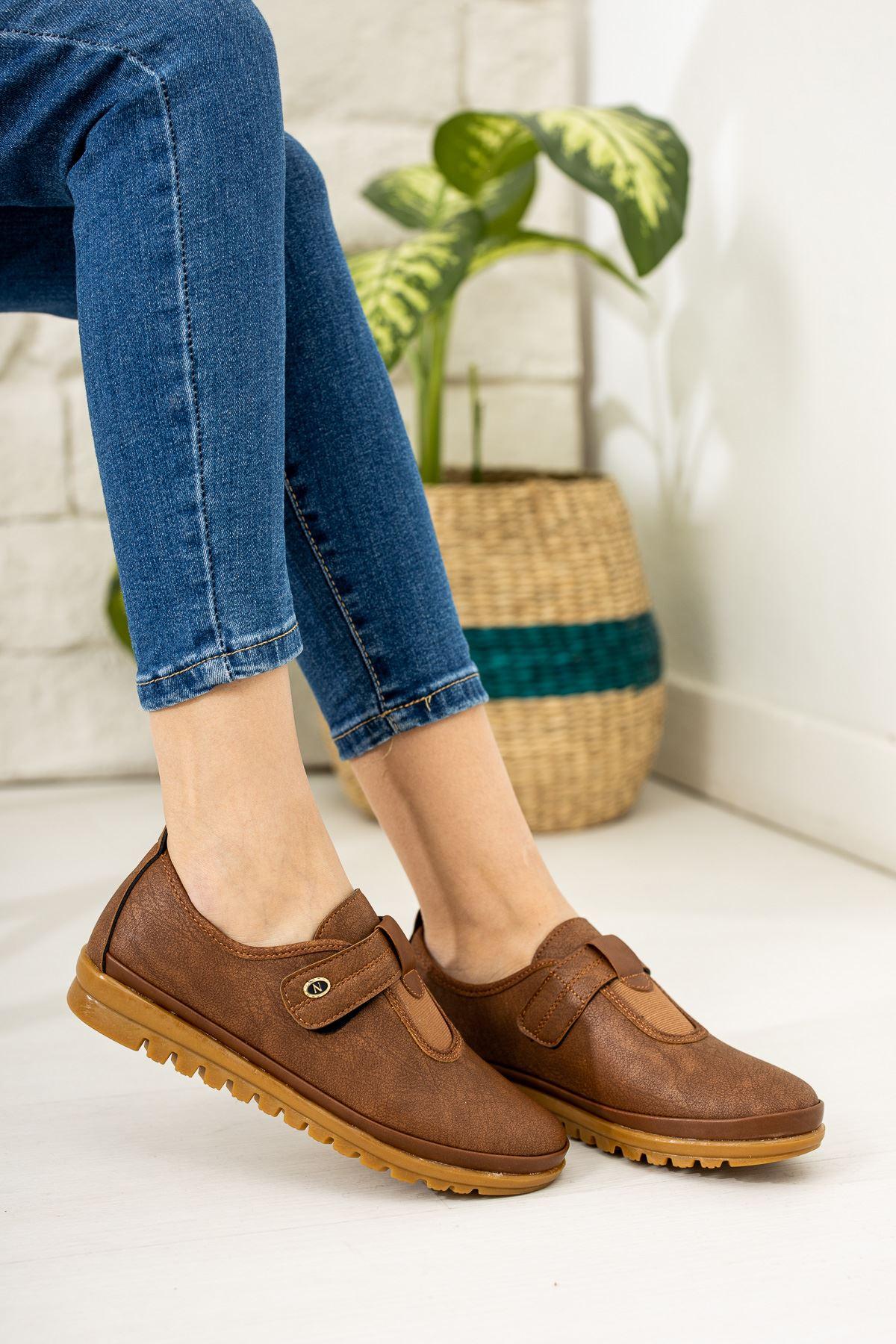 Ortapedik Pedli Cırtlı Taba Cilt Ayakkabı