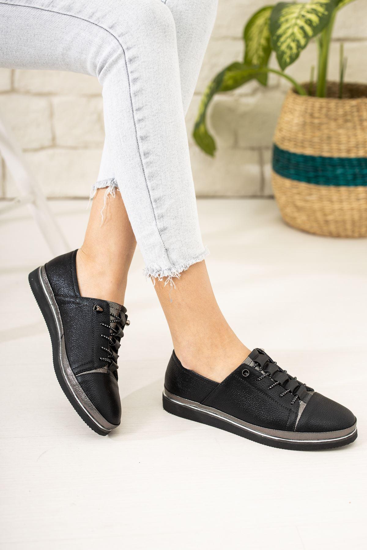 Ortapedik Pedli İçi Deri Siyah Ayakkabı