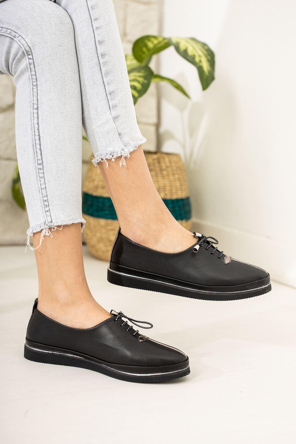 Ortapedik Pedli İçi Deri Siyah Cilt Ayakkabı