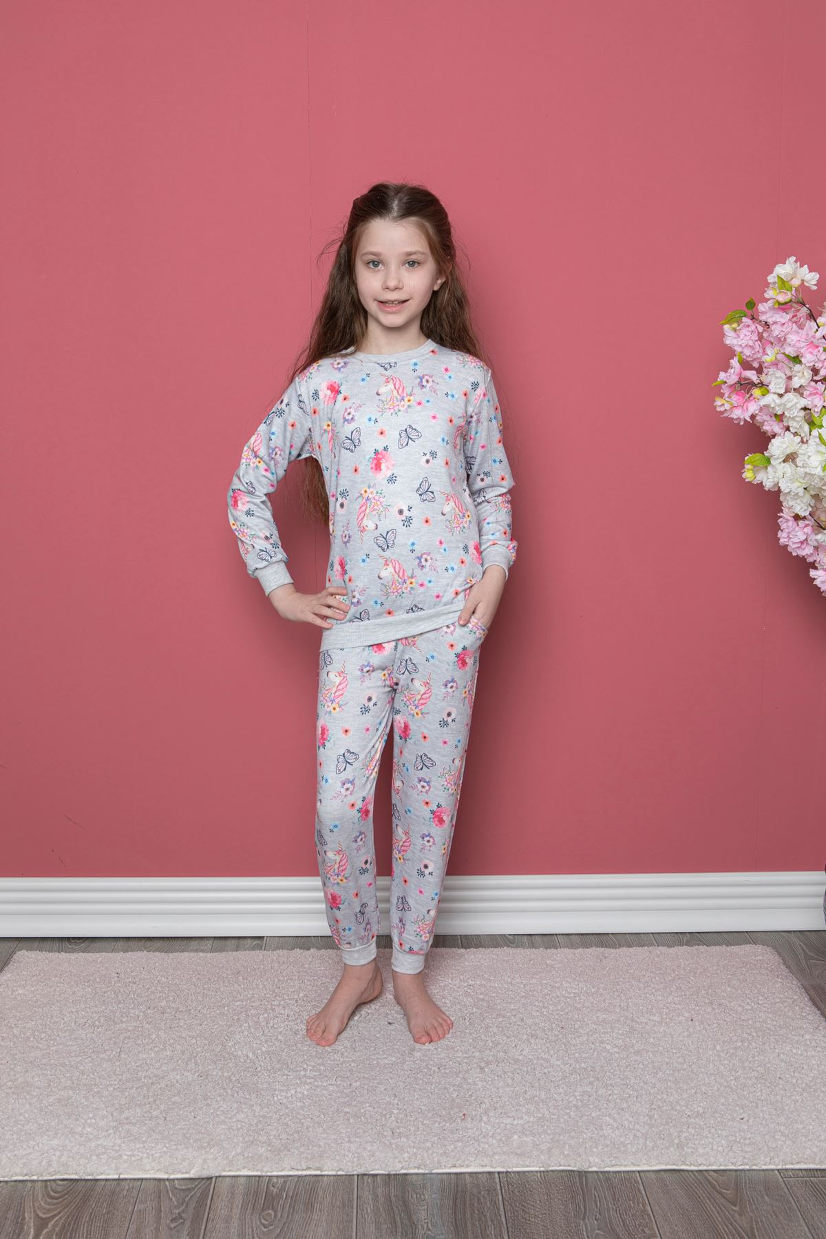 Unicorn Baskılı Pijama Takım
