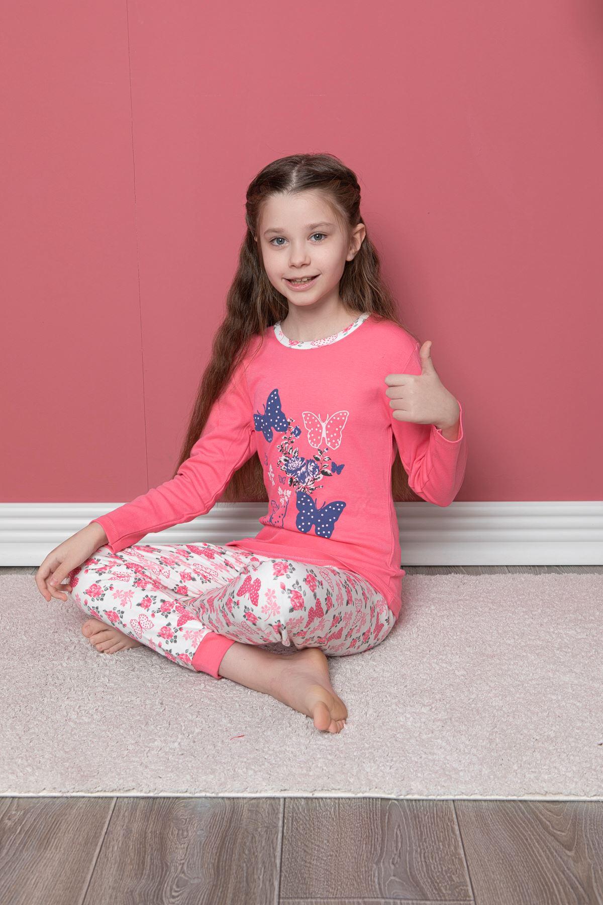 Kelebek Baskılı Pijama Takım