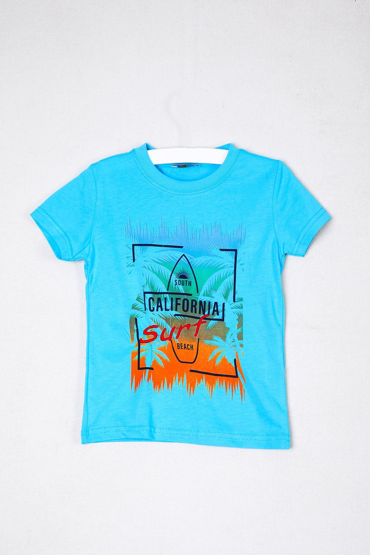 California Baskılı Mavi Çocuk T-shirt