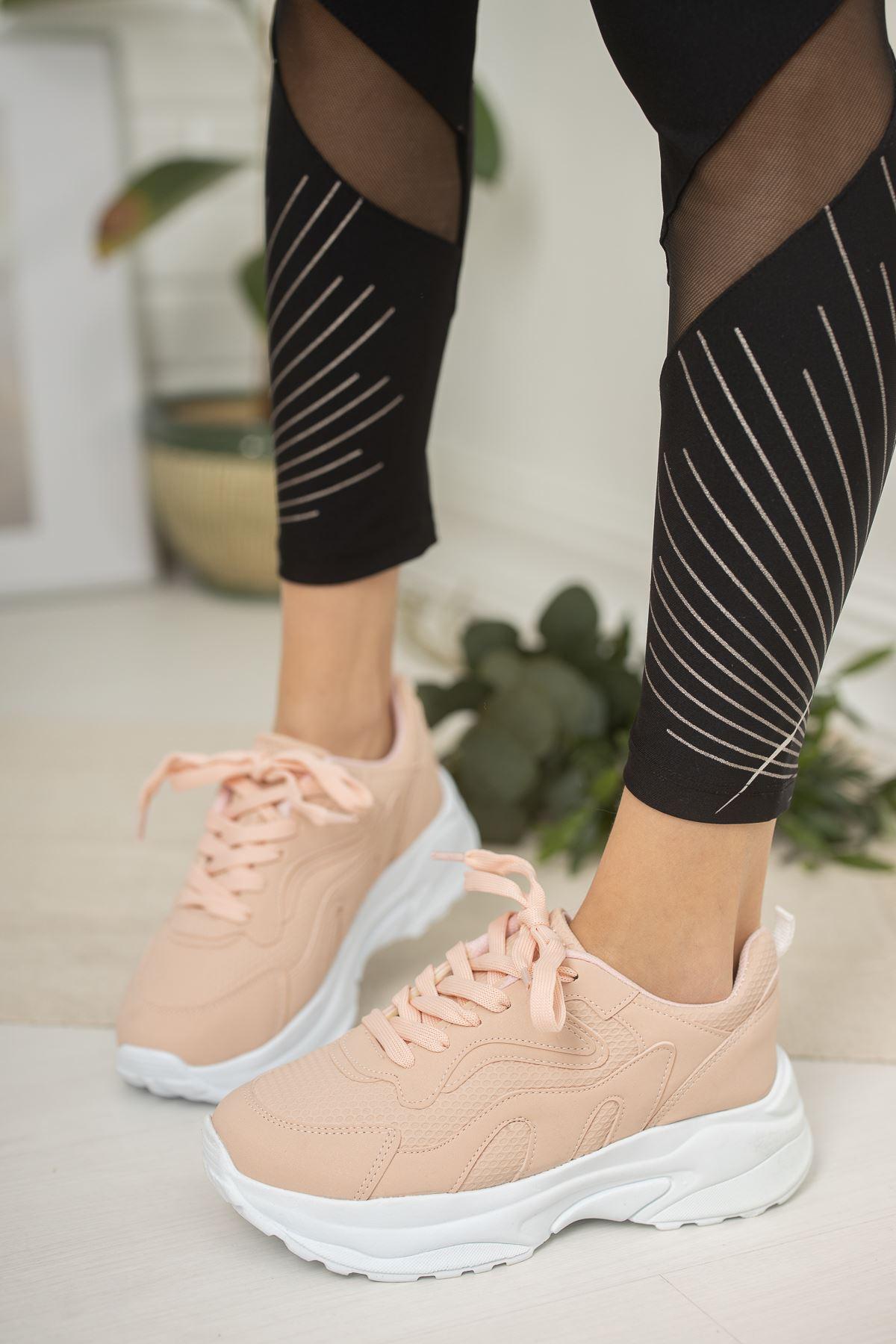 Bağcıklı Pudra Spor Ayakkabı