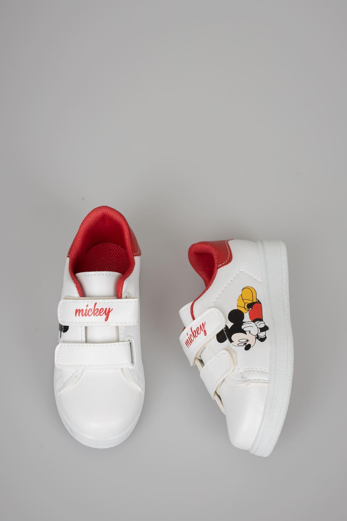 Baskılı Beyaz Garnisi Kırmızı Bebe Ayakkabı