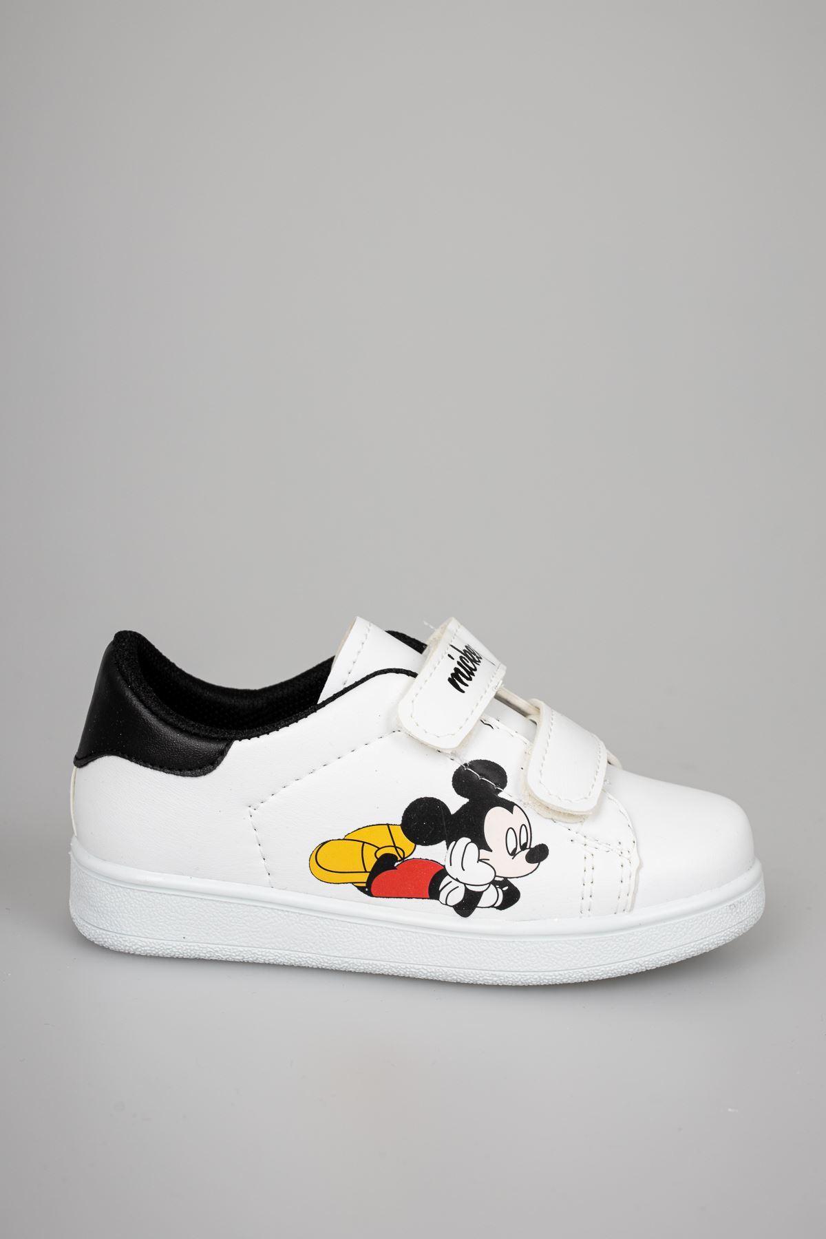 Baskılı Beyaz Garnisi Siyah Bebe Ayakkabı
