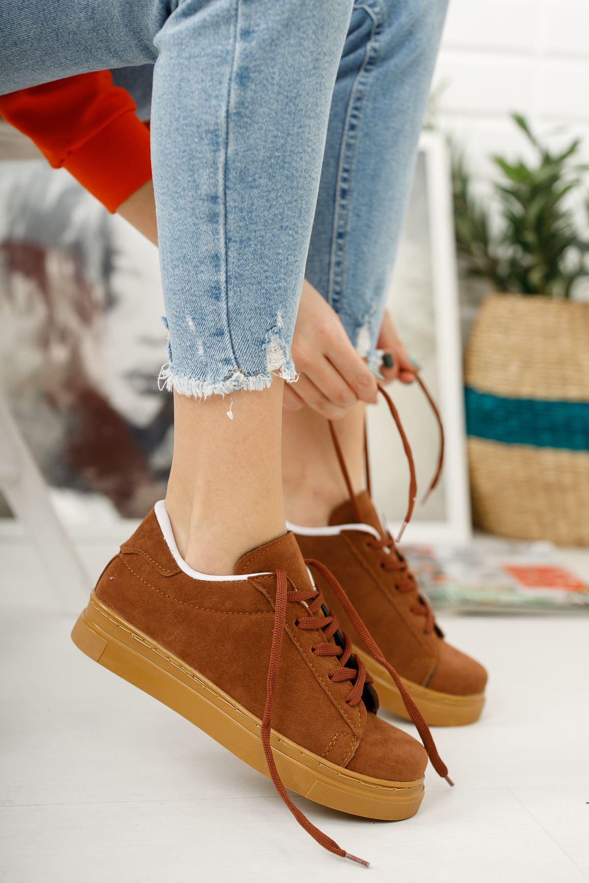 Bağcıklı Taba Spor Ayakkabı
