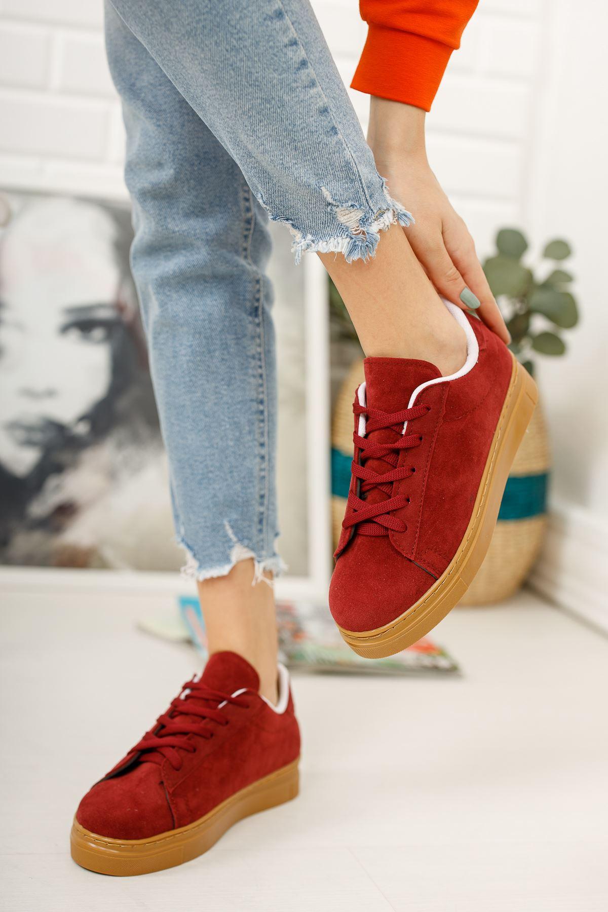 Bağcıklı Bordo Spor Ayakkabı