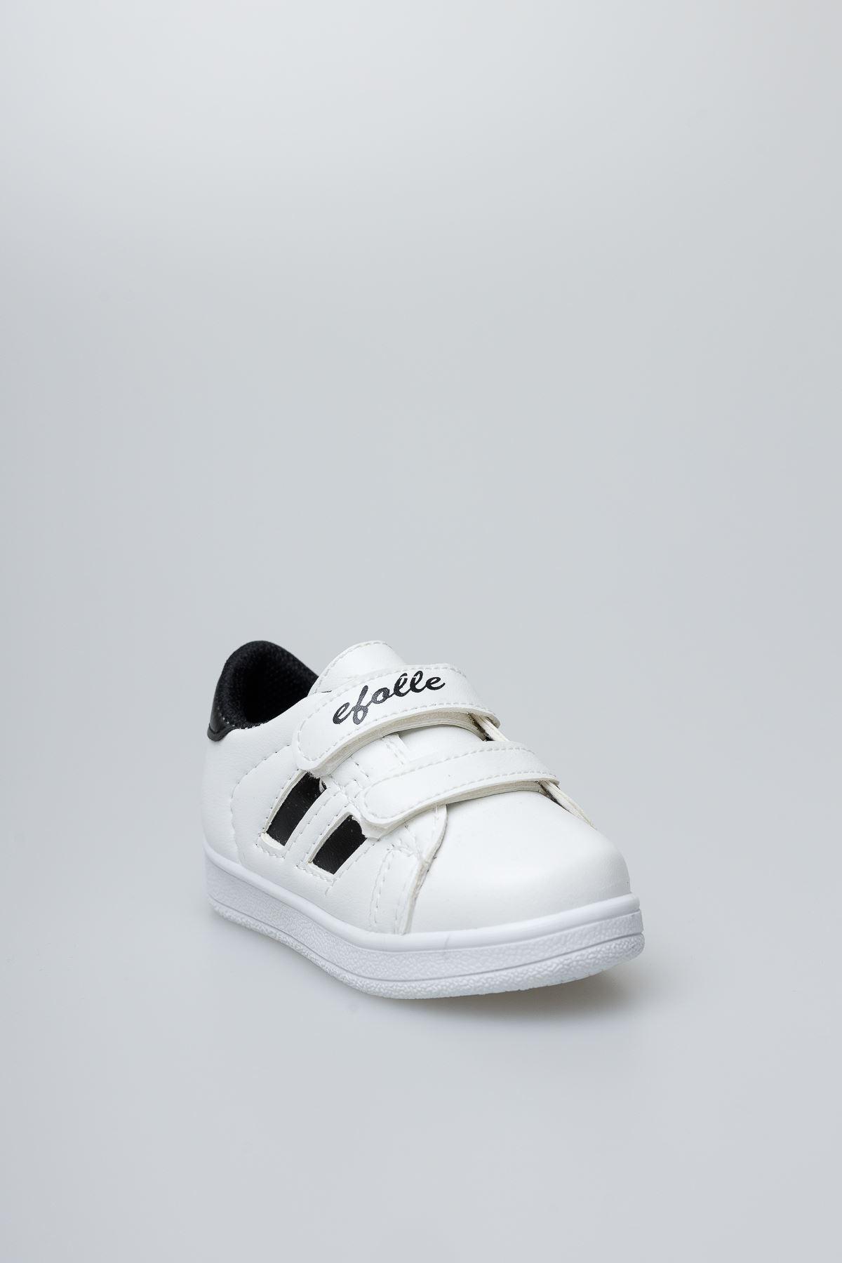 Beyaz Yanı Siyah Şeritli Bebe Ayakkabı
