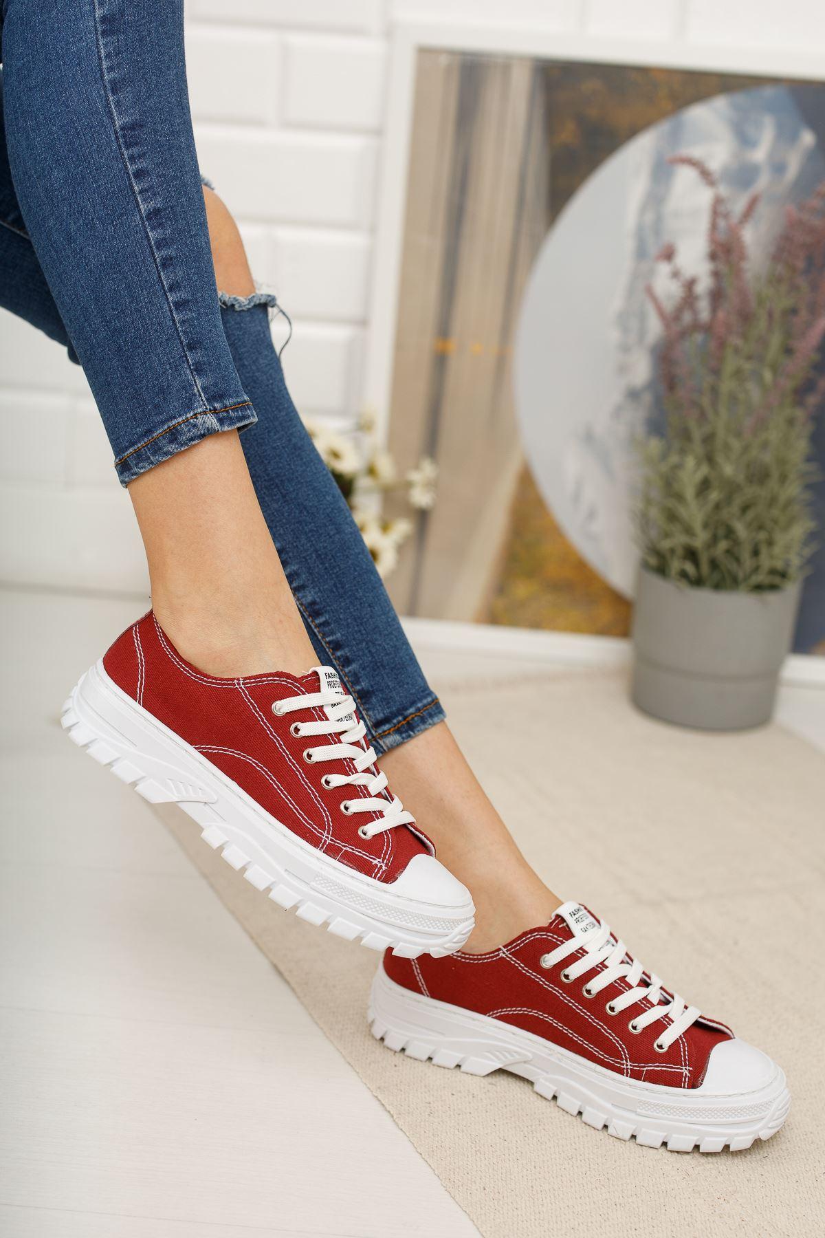 Bağcıklı Kırmızı Spor Ayakkabı