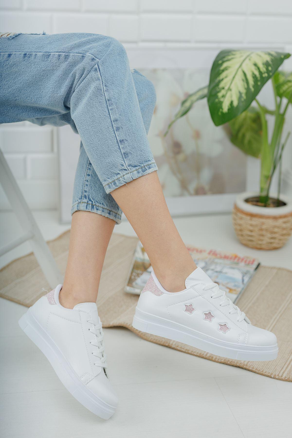 Bağcıklı Pudra Yıldızlı Beyaz Spor Ayakkabı