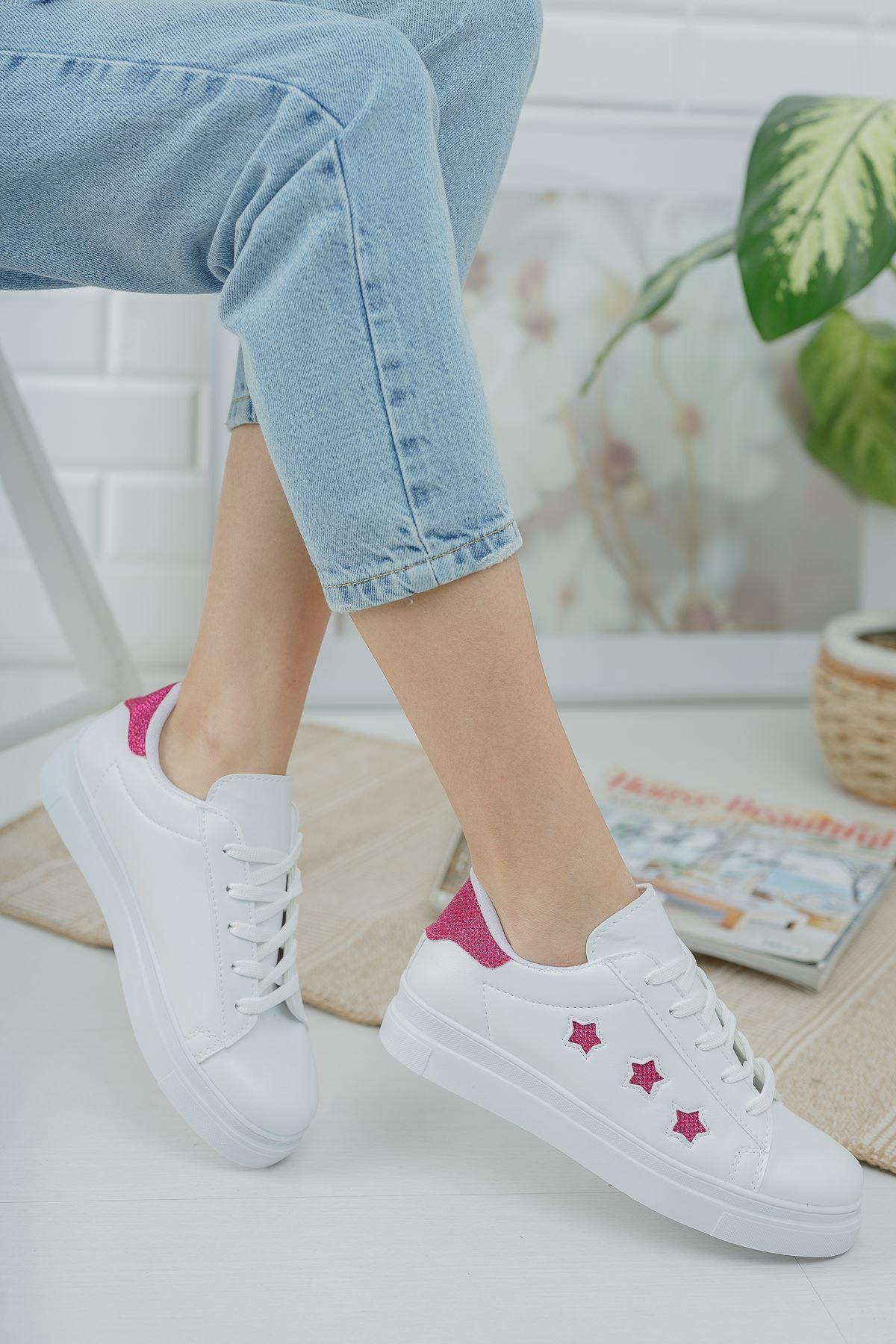 Bağcıklı Fuşya Yıldızlı Beyaz Spor Ayakkabı