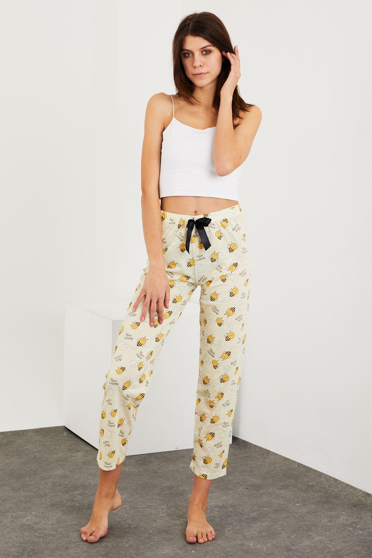 Baskılı Sarı Pijama Alt