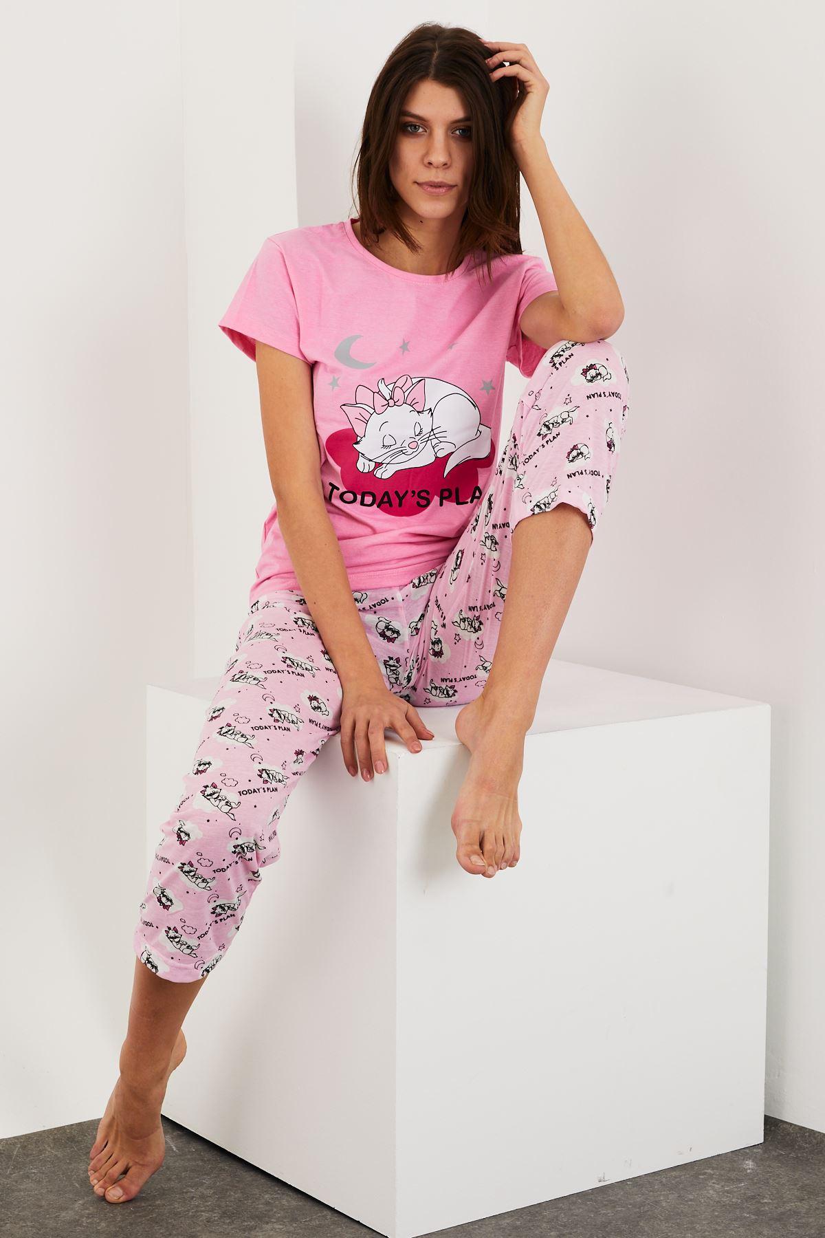 Baskılı Kısa Kol Pijama Takım