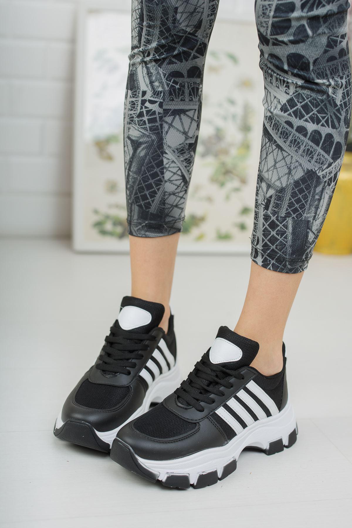 Yüksek Taban Beyaz Şeritli Siyah Spor Ayakkabı